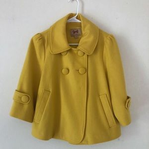 Forever21 retro 3/4 sleeve yellow peacoat Sz m
